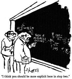 "Sidney Harris comic ""And then a miracle occurs"""