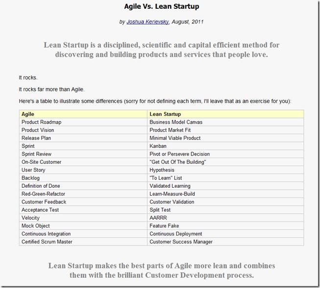 Agile vs. Lean Startup